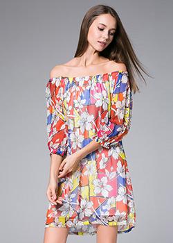 e3b1395f4684 ... Dress - Flowers Printed silk georgette mini dress ...