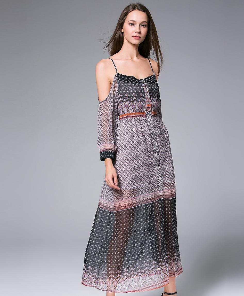 30601766036c Digital Printed silk chiffon maxi dress - Dress - MSENVY CORP