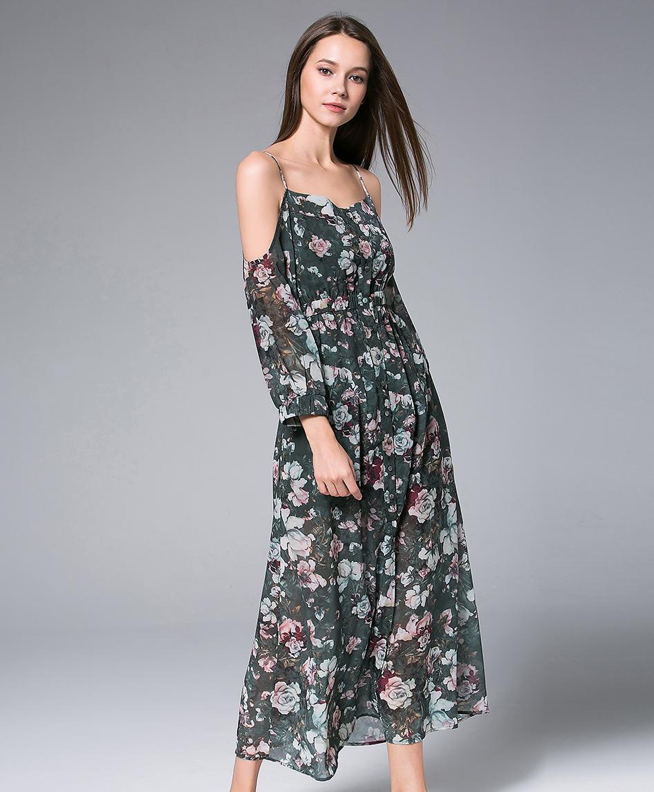 ece1c949e8ff Digital Roses Printed silk chiffon maxi dress - Dress - MSENVY CORP