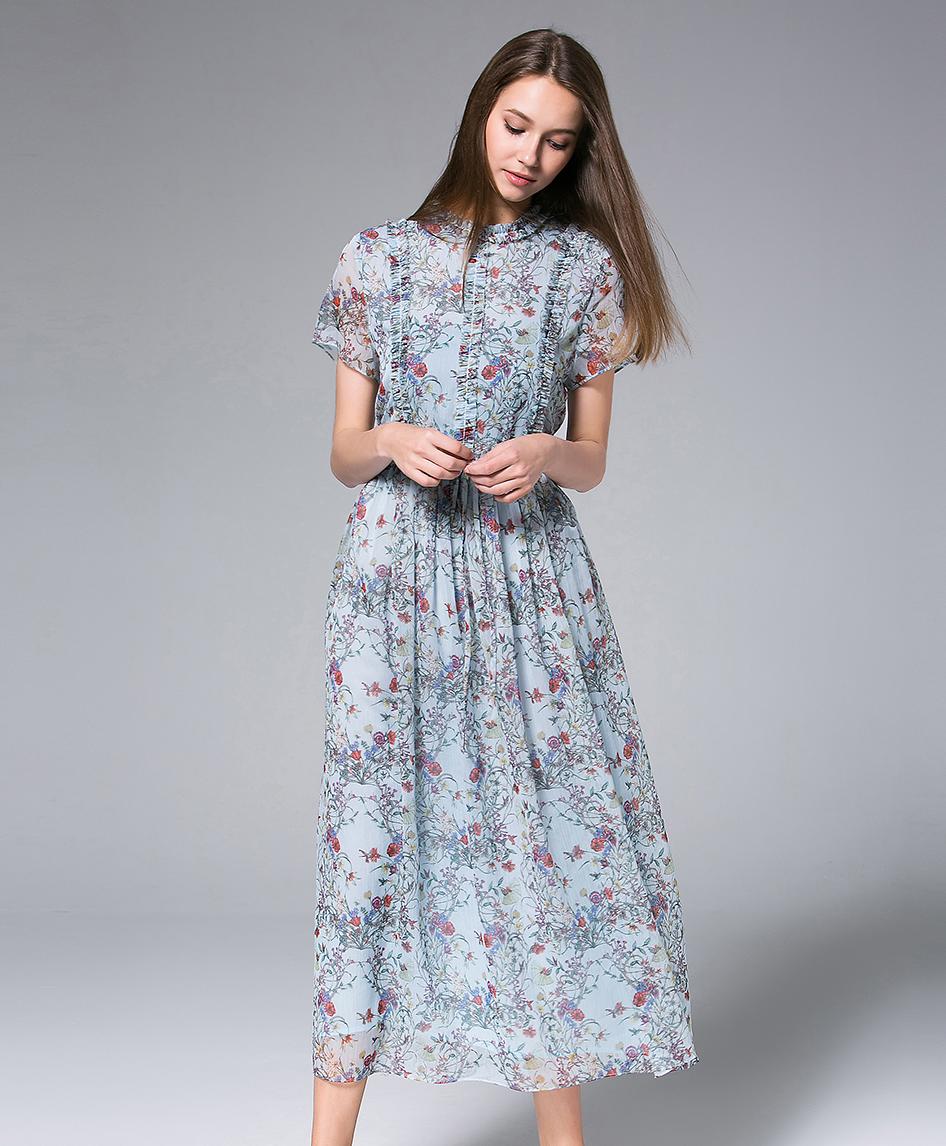 46f902ebedd4 Pastel Blue Printed Chiffon Maxi Dress - Dress - MSENVY CORP
